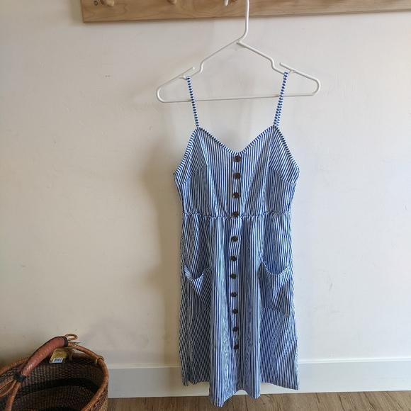 Blue and white striped spaghetti strap sundress
